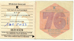 TIMBRES FISCAUX FRANCE - VIGNETTE AUTOMOBILE 1976 - Revenue Stamps