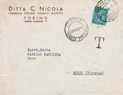 ITALIE 1958 LETTRE TAXEE DE TORINO - 6. 1946-.. Republik