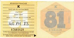 TIMBRES FISCAUX FRANCE - VIGNETTE AUTOMOBILE 1981 - Revenue Stamps
