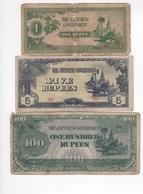 B11 - BIRMANIE Lot De 3 Billets Occupation Japonaise - Myanmar