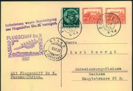 1933, FLUGSCHIFF DO-X PASSAU-SCHWEIZ, Karte Mit Verzögerungsstempel - Allemagne