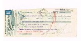 Chèque. Minoteries à Cylindres,Valenciennes.Timbre Fiscal  Belge. - Chèques & Chèques De Voyage