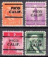 USA Precancel Vorausentwertung Preo, Locals California, Pico 701, 4 Diff. - Vereinigte Staaten