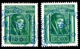 CASSA PREVIDENZA GEOMETRI - 2 ESEMPLARI £. 1000 - USATI - 6. 1946-.. Repubblica
