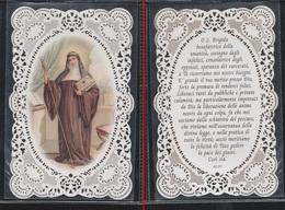 """SANTINO MERLETTATO """" SANTA BRIGIDA """" (holy Cards Lace-canivets-spitzebildichen) COME DA FOTO - Vecchi Documenti"""