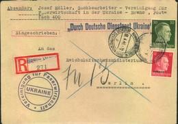 """1943, Registered Letter """"DEUTSCHE DIENSTPOST UKRAINE"""" From ROWNO To Reichsluftfahrtministerium, Berlin - Ukraine"""