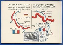 Carte  Rattachement Politique De La SARRE A L'ALLEMAGNE    Oblitération:  Sarreguemines 16-3-1957 - Marcophilie (Lettres)