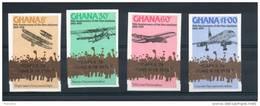 Ghana. 75ème Anniversaire Du Premier Avion Surchargés Capex 78. Série De 4 Timbres Non Dentelés - Ghana (1957-...)