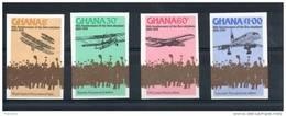 Ghana. 75ème Anniversaire Du Premier Avion. Série De 4 Timbres Non Dentelés - Ghana (1957-...)