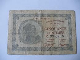 50 CT MINES DOMANIALES DE LA  SARRE TYPE 1920 SERIE C - Treasury