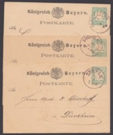 """P 8 II, 3 Bedarfskarten Mit Pfalzstempeln """"Speyer"""", """"Kaiserslautern"""" Und """"Bergzabern"""", Je Halbkreis """"Dürkheim"""" - Bayern"""