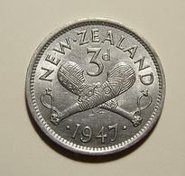 New Zealand 3 Pence 1947 Varnished - New Zealand