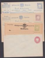 """4 Verschiedene Ganzsachen """"Kreuzer"""", Ungebraucht - Bayern"""