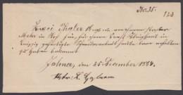 """""""Zahna"""", Handgeschriebener Postschein, 1864 - Sachsen"""