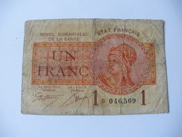 1 F MINES DOMANIALES DE LA  SARRE TYPE 1920 SERIE B - Trésor