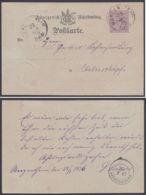 """P 20/02, Bedarf """"Mergentheim"""", 28.1.76, Rücks. Seltener Ankunfts-K2 """"Unterschupf"""" - Wuerttemberg"""