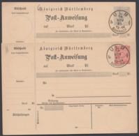 """A 25/6 II, Beide Postanweisungen Blanko """"Ulm"""", 14.11.01 - Wuerttemberg"""