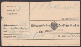 """""""Hildburghausen"""", 2x Nachverwendeter L1 Auf Telegramm, 1905 - Thurn Und Taxis"""