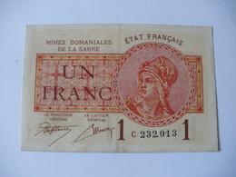 1 F MINES DOMANIALES DE LA  SARRE TYPE 1920 SERIE C - Trésor