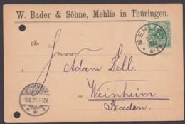 """46, EF """"Mehlis"""", 8.8.95, Vordruck """"Bader,Waffenfabrik"""", Registraturlochung - Deutschland"""