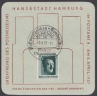 """646, Kl. Sonderblatt """"Hamburg"""", Mit Wasserzeichen, Sst., 9.4.37 - Deutschland"""