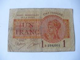 1 F MINES DOMANIALES DE LA  SARRE TYPE 1920 SERIE D - Tesoro