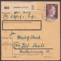 """797, EF Auf Paketkarte """"Sulzbach/Kocher"""" - Deutschland"""