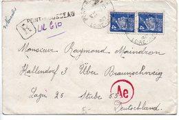 Paire 4F Pétain Sur Lettre Recommandée Provisoire De Pont-Rousseau De 1943 Pour L'Allemagne - Postmark Collection (Covers)