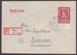 """887, EF Auf R-Brief, Pass. Sst """"Wien"""" - Deutschland"""