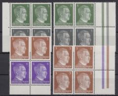"""Aus MHBl. 117/8 """"Hitler"""", 4 Versch. 4er Blocks Mit Leerfeldern Rechts, ** - Zusammendrucke"""