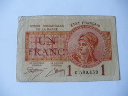 1 F MINES DOMANIALES DE LA  SARRE TYPE 1920 SERIE E - Trésor