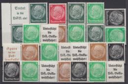 """""""Hindenburg""""-Medaillon, 11 Verschiedene ZD, ** - Zusammendrucke"""