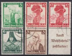 "S 231, 235, 241 ""WHW""-Trachten, 1935, 3 Versch. Senkr. ZD, Sauber Gestempelt - Zusammendrucke"