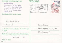 Denmark ODENSE CENTRALBIBLIOTEK Slogan Flamme ODENSE 1983 Card Karte Locally Sent Comics Storm P. (Cz. Slania) - Briefe U. Dokumente