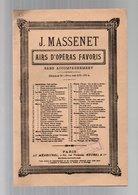 Partition Adieux De Manon Par J. Massenet - Airs D'opéras Favoris - Opéra