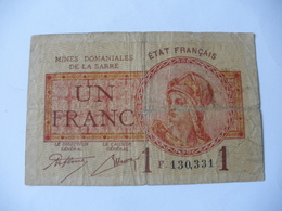 1 F MINES DOMANIALES DE LA  SARRE TYPE 1920 SERIE F - Trésor