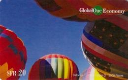 SWITZERLAND - Hot Air Balloon , Global One Prepaid Card Fr.20, Tirage 5.000, Used - Switzerland