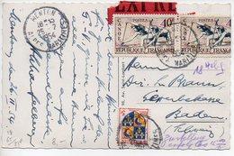 Jeux Olympiques Canoë + Blason Dauphiné Sur Carte De 1954 En EXPRES Pour La Suisse - Tarif De 83F Correct - 1921-1960: Periodo Moderno