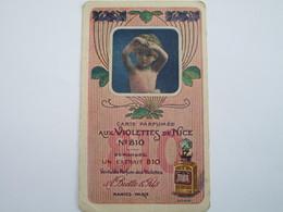 Carte Parfumée Aux Violettes De Nice N°810 - A. Biette & Fils (calendrier 2ème Semestre 1914) - Vintage (until 1960)
