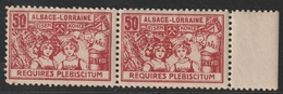 VIGNETTE ALSACE LORRAINE REQUIRES PLEBISCITUM Neuf ** MNH Paire - Alsace-Lorraine