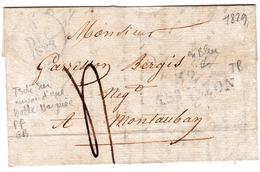 Lettre 1829 Castillon La Bataille Gironde Montauban Tarn Et Garonne Garisson Bergis - Marcophilie (Lettres)
