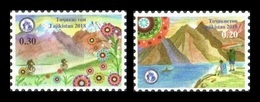 Tajikistan 2018 Mih. 819/20 Year Of Tourism Development And Folk Crafts (I). Bicycles. Mountains. Boat MNH ** - Tagikistan