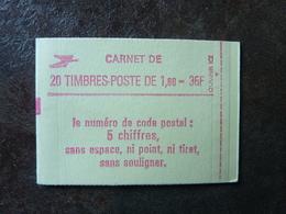1982 Marianne De Delacroix De 1,80F Rouge CODE POSTAL = 2220-C8a Conf.8 Gomme Mate  ** MNH - Carnets