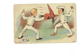 Cpa Illustration Humour - LOUIS BRAU - Sport Escrime - Garçon Cuisinier Duel Carotte Toque - P. JOUET PARIS - Illustrators & Photographers