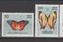 Inde 1981 Papillons Série 682-83 2 Val ** MNH - Neufs