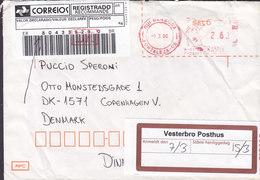 Brazil Registered Registrado Label FORTALEZA 2000 Meter Cover Letra Denmark VESTERBRO Posthus Vignette - Brasil