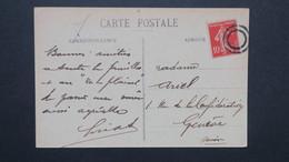 Obliteration Double Cercle Muet Sur Semeuse N° 138  CPA Châtillon Sur Seine Cote D'Or Pour Geneve ( Greve 1909 ?? ) - Marcophilie (Lettres)