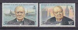 Falkland Islands 1974 Sir Winston Churchill 2v ** Mnh (41746C) - Falklandeilanden