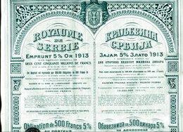 Royaume De Serbie: 5% Emprunt Or De 1913 - Banca & Assicurazione