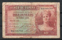 España. Emisión De 1935. 10 Pesetas. Alegoría. Serie B. - [ 2] 1931-1936 : République